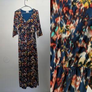 Modcloth Everly Watercolor Fall Boho Maxi Dress